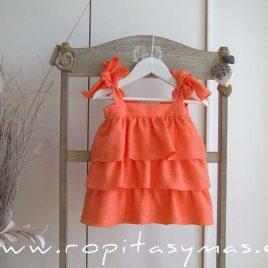 Vestido volantes coral TURTTLE de EVE CHILDREN, verano 2021