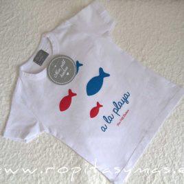 Camiseta blanca PECES niño de MON PETIT BONBON, verano 2021
