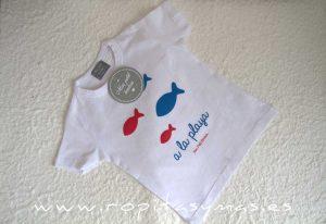 Camiseta blanca PECES niño de MON PETIT BONBON