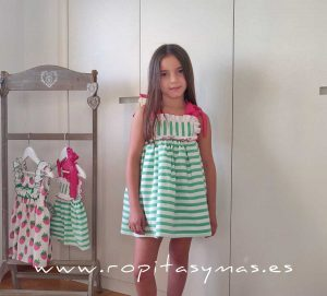 Vestido RAYAS verdes MON PETIT BONBON