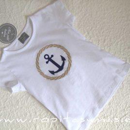 Camiseta blanca niña ANCLA MON PETIT BONBON, verano 2021