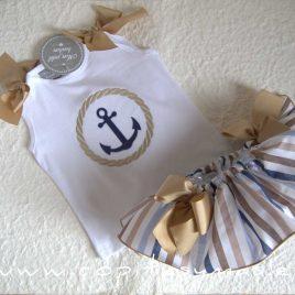 Camiseta bebé ANCLA lazos beiges de MON PETIT BONBON, verano 2021