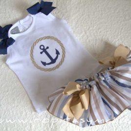 Camiseta bebé ANCLA lazos marinos de MON PETIT BONBON, verano 2021