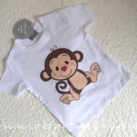 Camiseta blanca MONITOS niño de MON PETIT BONBON, verano 2021