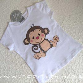 Camiseta blanca MONITOS niña MON PETIT BONBON, verano 2021