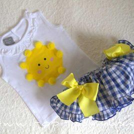 Camiseta blanca SOL niña de MON PETIT BONBON, verano 2021