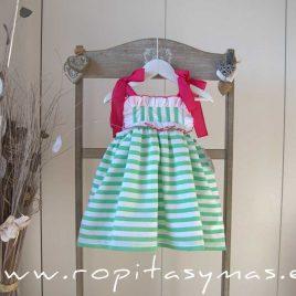 Vestido RAYAS verdes MON PETIT BONBON, verano 2021