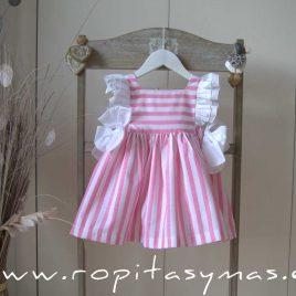 Vestido RAYAS rosas y blancas MON PETIT BONBON, verano 2021