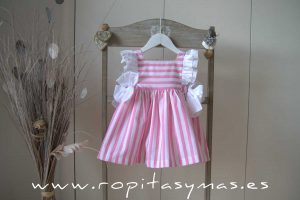 Vestido RAYAS rosas y blancas MON PETIT BONBON
