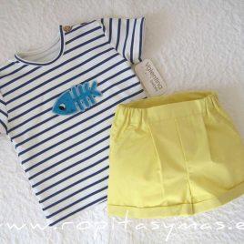 Conjunto bebé niño camiseta PEZ de VALENTINA BEBÉ, verano 2021