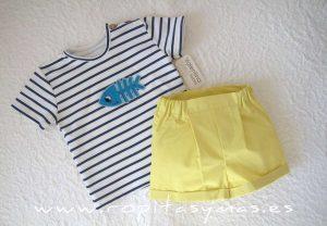 Conjunto bebé niño camiseta PEZ de VALENTINA BEBÉ