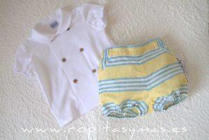 Camisa bebe blanca cruzada de ANCAR