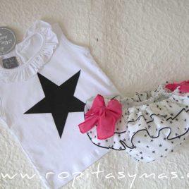 Camiseta bebé blanca ESTRELLA de MON PETIT BONBON, verano 2021
