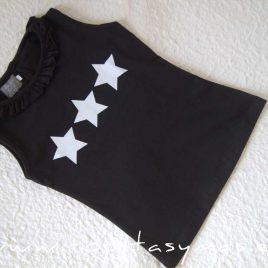 Camiseta negra ESTRELLAS MON PETIT BONBON, verano 2021