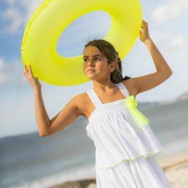 Vestido blanco flúor SPLASH de LA MARTINICA, verano 2021