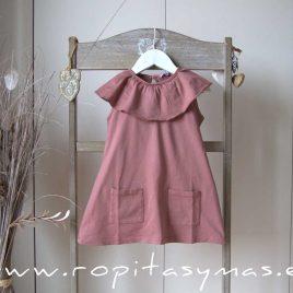 Vestido rosa maquillaje volante de ANCAR, verano 2021