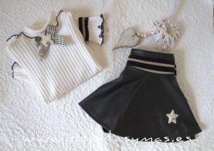 Falda-pantalón polipiel negra TWEED de KAULI