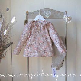 Blusa rosa nude  volante FLORAL de ANCAR, invierno 2021