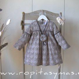 Vestido talle alto GEOMÉTRICO gris de ANCAR, invierno 2021