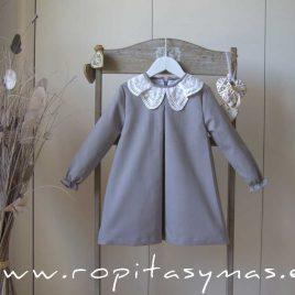 Vestido cuello bordado VAPOR GREY de EVE CHILDREN, invierno 2021