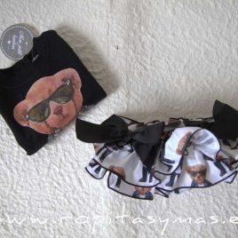Sudadera bebé niña negra OSO de MON PETIT BONBON, invierno 2021