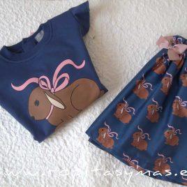 Falda azulona CONEJITOS de MON PETIT BONBON, invierno 2021