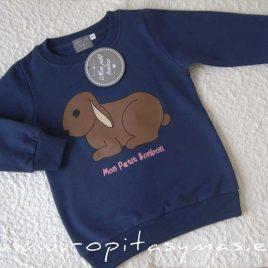 Sudadera niño azul oscura CONEJITO de MON PETIT BONBON, invierno 2021