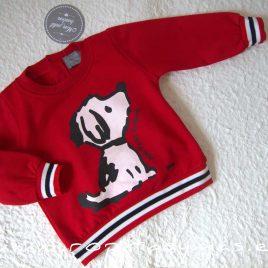 Sudadera bebé niña roja PERRO de MON PETIT BONBON, invierno 2021