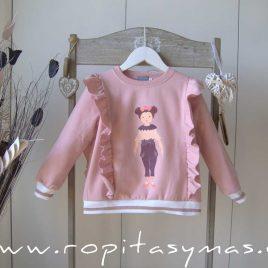 Sudadera niña rosa CROMOS de MON PETIT BONBON, invierno 2021