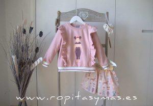 Sudadera niña rosa CROMOS de MON PETIT BONBON