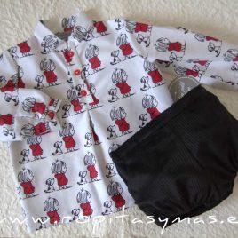 Camisa mao bebé PERRO Y NIÑA de MON PETIT BONBON, invierno 2021