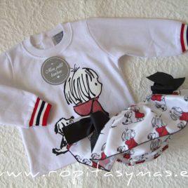 Sudadera bebé blanca PERRO y NIÑA de MON PETIT BONBON, invierno 2021