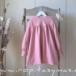 Vestido rosa filo dorado de MON PETIT BONBON, invierno 2021