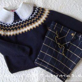 Conjunto pantalón y jersey marino TRAVIS de LA PEPPA, invierno 2021