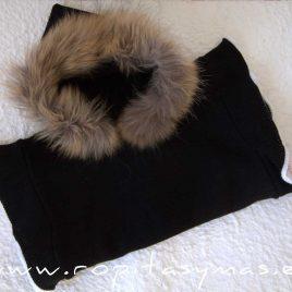 Chaleco-poncho negro MÉRIDA niña de LAPEPPA, invierno 2021