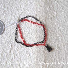 Collar rojo y negro PERRO Y NIÑA de MON PETIT BONBON, invierno 2021