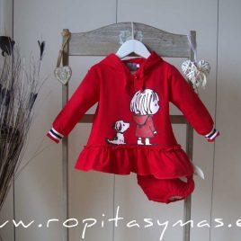 Jesusito felpa rojo capucha PERRO Y NIÑA de MON PETIT BONBON, invierno 2021