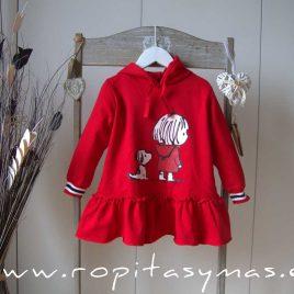 Vestido felpa rojo capucha PERRO Y NIÑA de MON PETIT BONBON, invierno 2021