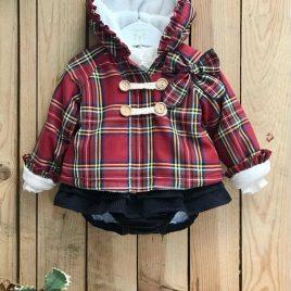 Conjunto chaquetón niña ESCOCÉS ROJO de VALENTINA BEBÉ, invierno 2021