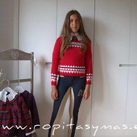 Jersey rojo largo PREPPY niña de KAULI, invierno 2021