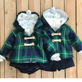 Conjunto chaquetón niño ESCOCÉS VERDE de VALENTINA BEBÉ, invierno 2021