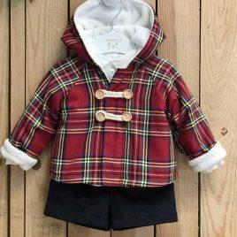 Conjunto chaquetón niño ESCOCÉS ROJO de VALENTINA BEBÉ, invierno 2021